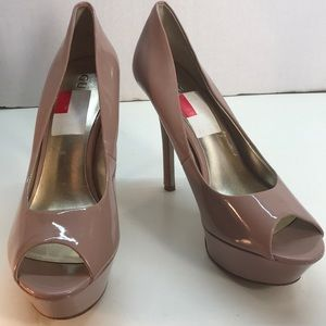 Guess Tan Peep Toe Stilettos Size 9.5